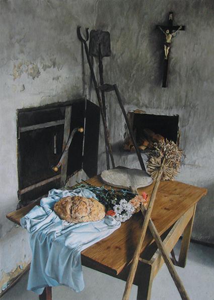 Tihožitje s kruhom, 2009, pastel na papirju, 70 x 50 cm